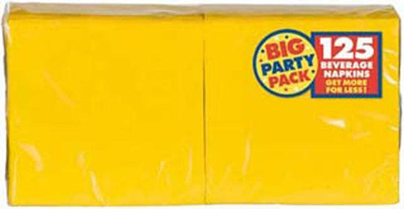 Yellow Big Party Pack Beverage Napkins - 125 Pack