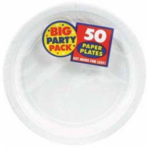 "Frosty White Big Party Pack Paper Dinner Plates 9"" - 50 Pack"
