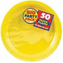 Yellow Big Party Pack Paper Dinner Plates 9