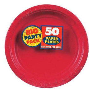 "Apple Red Paper Dinner Plate 9"" - 50 Pack"