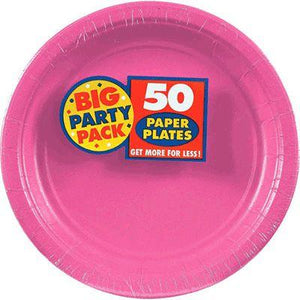 "Bright Pink Big Party Pack Paper Dinner Plates 9"" - 50 Pack"