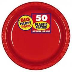 Big Party Pack Apple Red Plastic Dessert Plate 7