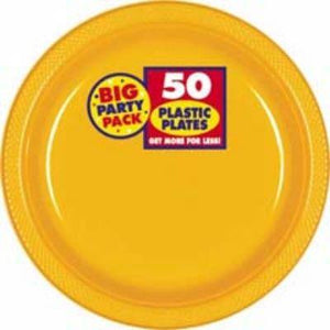 "Yellow Big Party Pack Plastic Dinner Plates 10"" - 50 Pack"