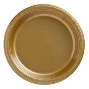 "Gold Sparkle Big Party Pack Plastic Dessert Plates 10"" - 50 Pack"