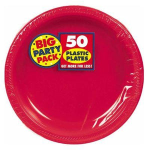 "Apple Red Plastic Dinner Plates 10"" - 50 Pack"
