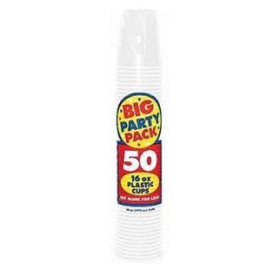 Frosty White Big Party Pack Plastic Cups 16 oz. - 50 Pack