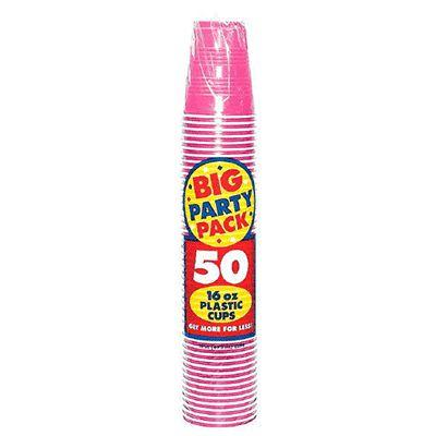 Bright Pink Big Party Pack Plastic Cups 16 oz. - 50 Pack