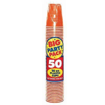 Orange Peel Big Party Pack Plastic Cup 16 oz. - 50 Pack