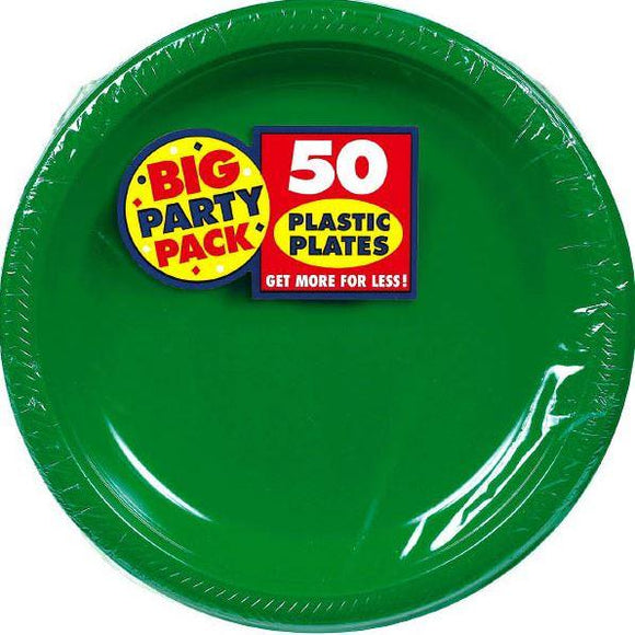 Festive Green Big Party Pack Dinner Plates 10