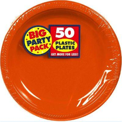 Orange Peel Big Party Pack Plastic Dinner Plate 10
