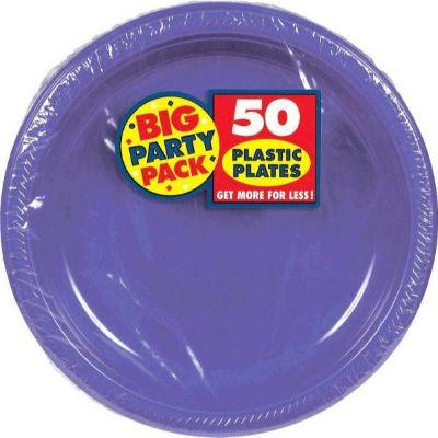 Light Purple Big Party Pack Plastic Dinner Plates 10