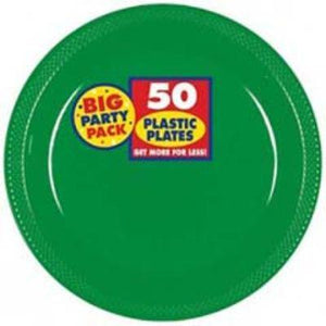 "Festive Green Big Party Pack Plastic Dessert Plate 7"" - 50 Pack"