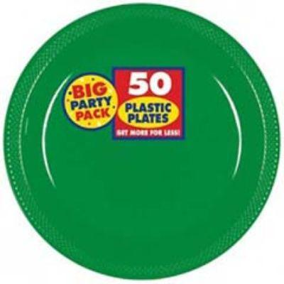 Festive Green Big Party Pack Plastic Dessert Plate 7