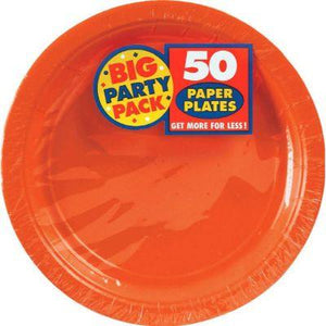 "Orange Peel Big Party Pack Paper Dinner Plate 9"" - 50 Pack"