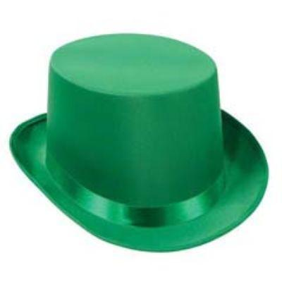Green Satin Sleek Top Hat