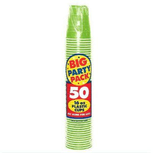 Kiwi Green Big Party Pack Plastic Cups 16 oz. - 50 Pack