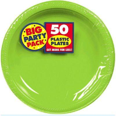 Kiwi Green Big Party Pack Plastic Plate 10