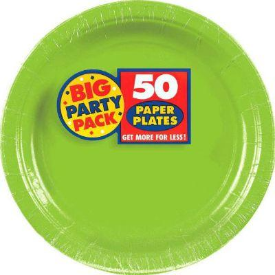 Kiwi Green Big Party Pack Paper Dinner Plate 9