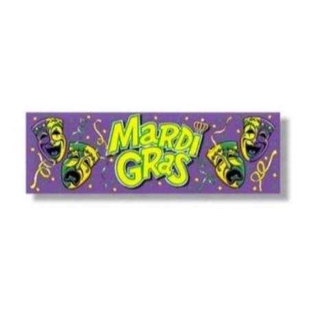 Mardi Gras Banner Sign with Grommets 5'