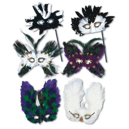 Mardi Gras Deluxe Feathered Mask With Handle - Assorted Colors