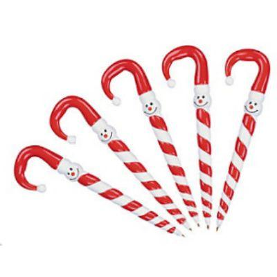 Candy Cane Snowman Pens - 12 Pack