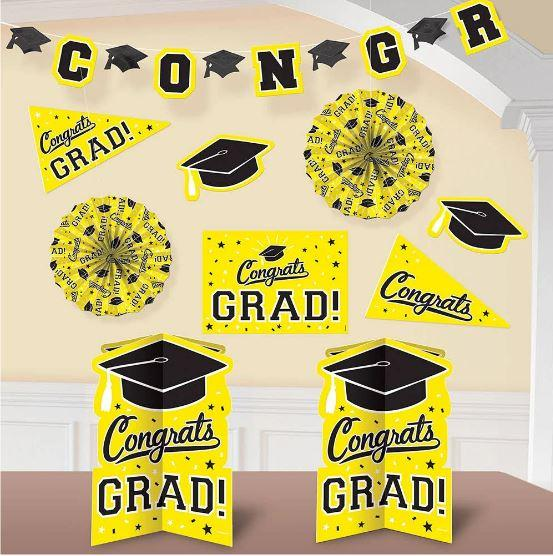 Graduation Yellow Decoration Kit - 10 Pack