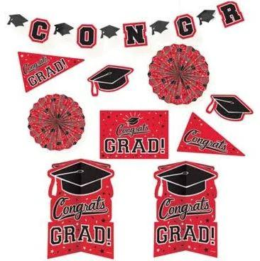 Graduation Red Decoration Kit - 10 Pack