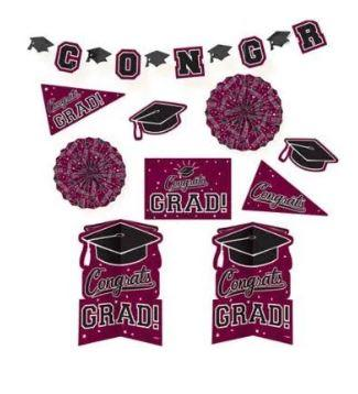 Graduation Burgundy Decoration Kit - 10 Pack