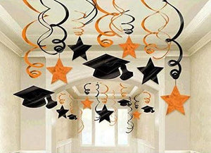 Orange Graduation Hanging Swirl Decoration - 30 Pack