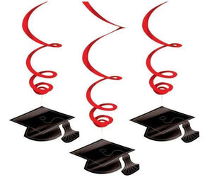 Red Graduation Hanging Swirl Decoration - 30 Pack