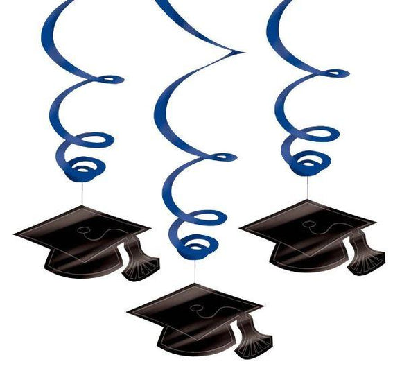 Blue Graduation Hanging Swirl Decoration - 30 Pack