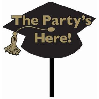 The Party's Here Black Graduation Yard Sign