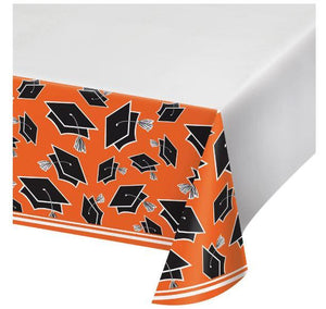 "Orange Congrats Grad Tablecover 54"" x 102"""
