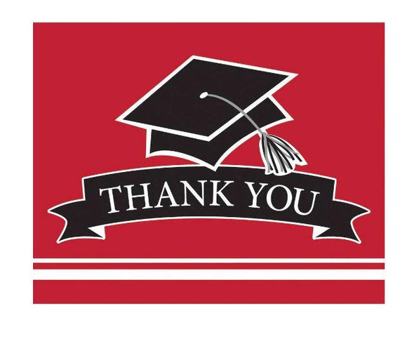 Red Graduation Thank You Card - 25 Pack