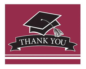 Burgundy Graduation Thank You Card - 25 Pack