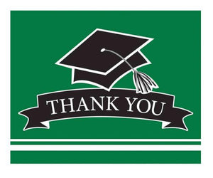 Green Graduation Thank You Card - 25 Pack