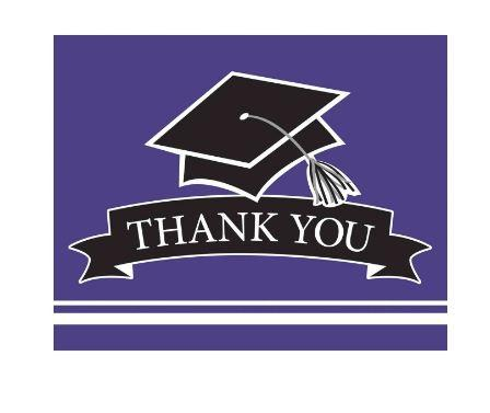 Purple Graduation Thank You Card - 25 Pack
