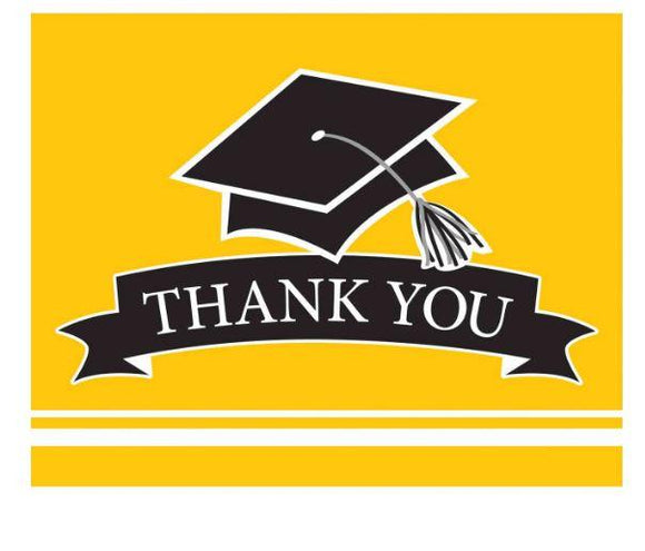 Yellow Graduation Thank You Card - 25 Pack