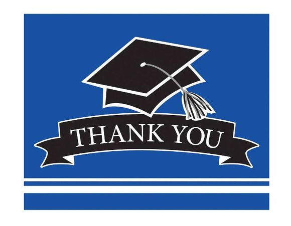 Blue Graduation Thank You Card - 25 Pack