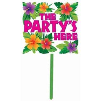 '+2 YARD SIGN LUAU PTY HERE 14X15