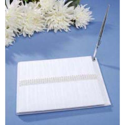 Rhinestone Row with Pleats Guestbook with Silver P