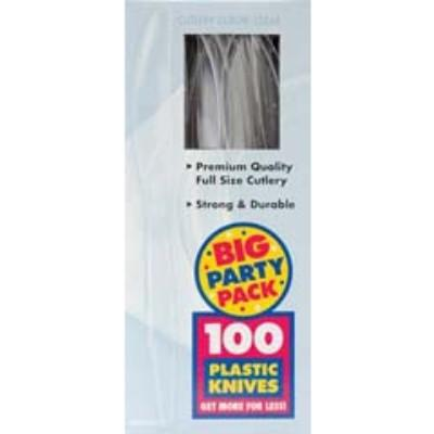 Clear Big Party Pack Plastic Knives - 100 Pack