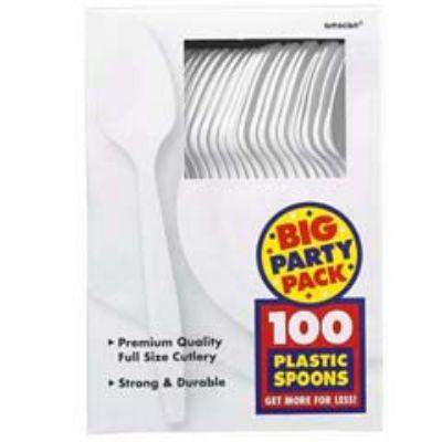 Frosty White Big Party Pack Plastic Spoons - 100 Pack