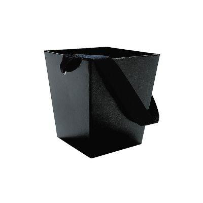 Black Cardboard Bucket With Ribbon Handle