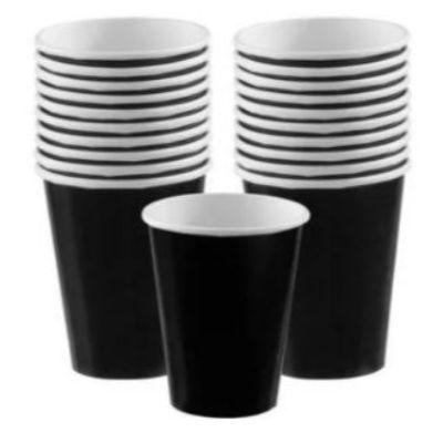 Jet Black Paper Cups 9 oz. - 20 Pack