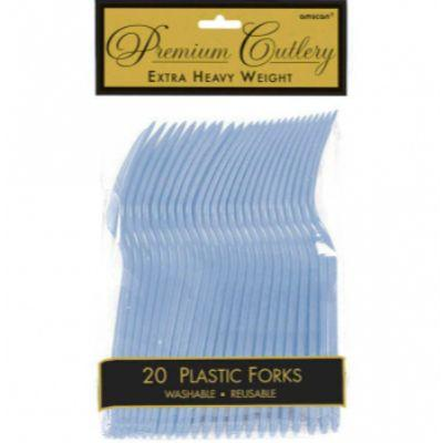Pastel Blue Heavyweight Forks - 20 Pack
