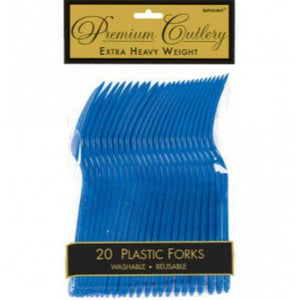 Royal Blue Premium Plastic Fork - 20 Pack