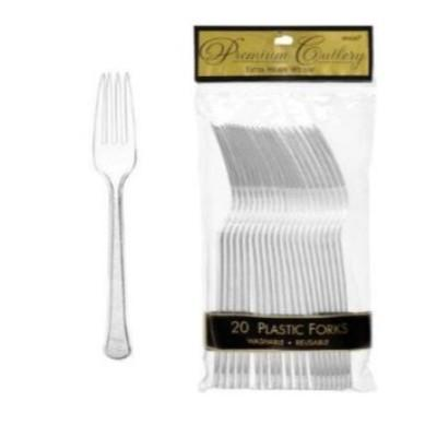 Clear Premium Plastic Forks - 20 Pack