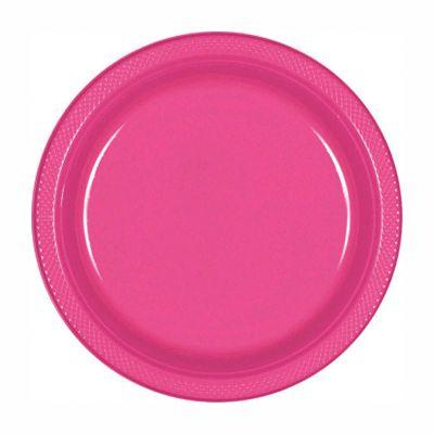 Bright Pink Plastic Dinner Plates 10