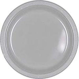 "Silver Sparkle Plastic Dinner Plates 10"" - 20 Pack"